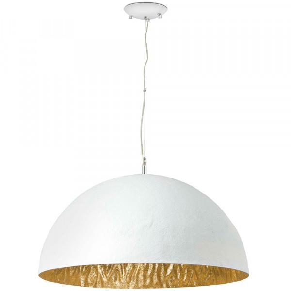 Grande suspension blanche et dor e en fibre de verre a retrouver sur lampe a - Lampe fibre de verre ...