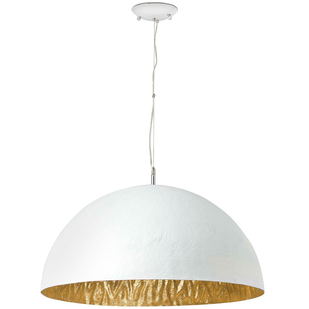 Grande suspension blanche et dor e en fibre de verre a for Grande suspension luminaire