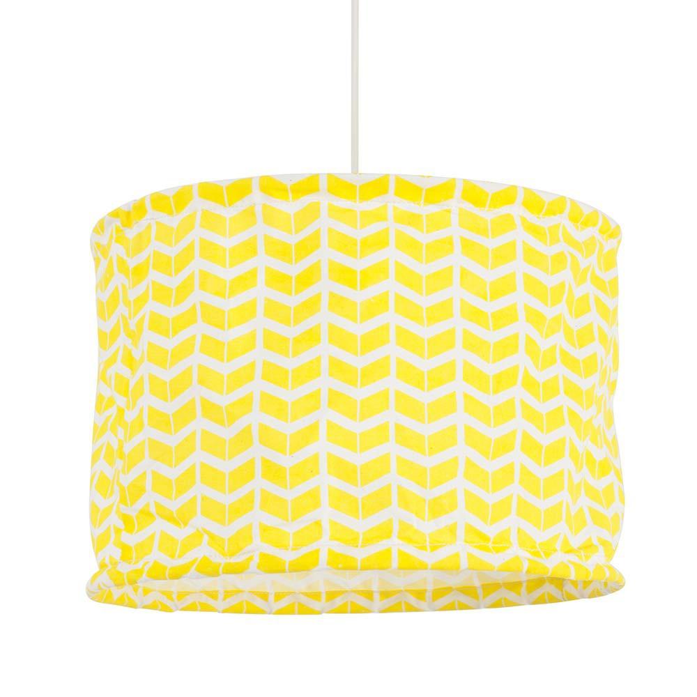 suspension cylindre en coton jaune achat sur lampe avenue. Black Bedroom Furniture Sets. Home Design Ideas