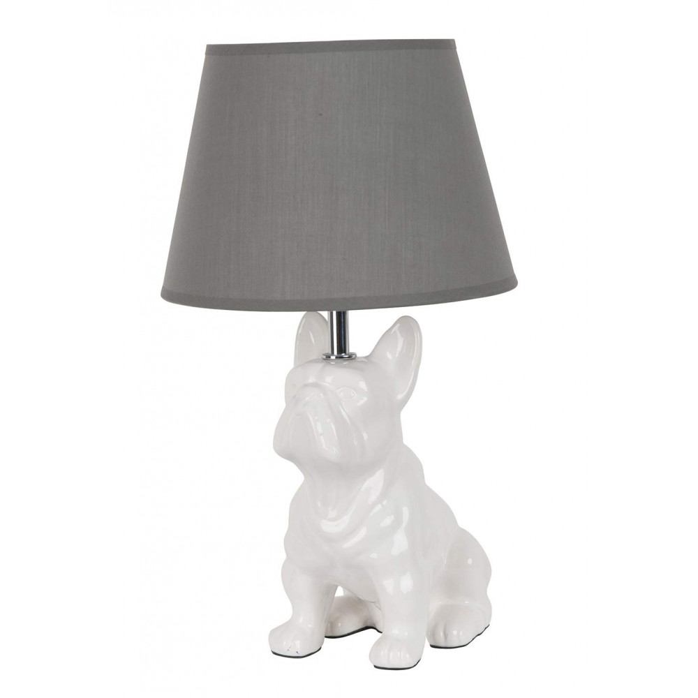 lampe chien en c ramique blanche avec abat jour gris sur lampe avenue. Black Bedroom Furniture Sets. Home Design Ideas
