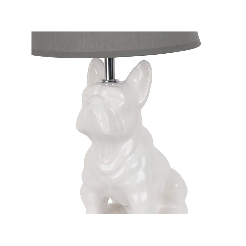 lampe chien en c ramique blanche avec abat jour gris sur. Black Bedroom Furniture Sets. Home Design Ideas