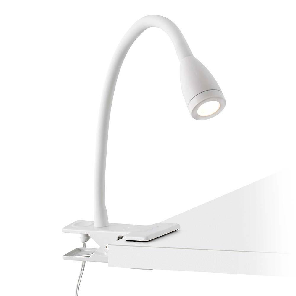 Lampe led pince flexible blanche lampe avenue for Lampe de chevet a pince