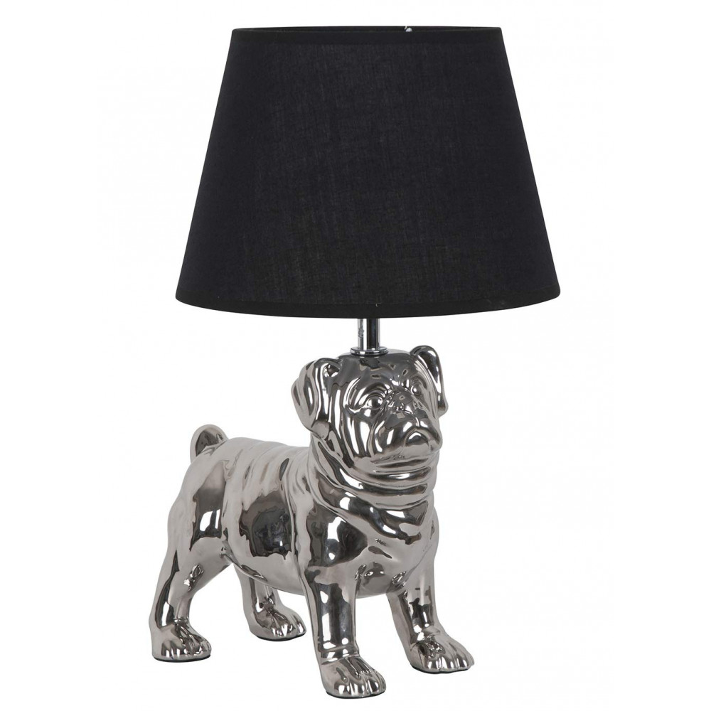 lampe chien en c ramique argent e et abat jour noir sur. Black Bedroom Furniture Sets. Home Design Ideas