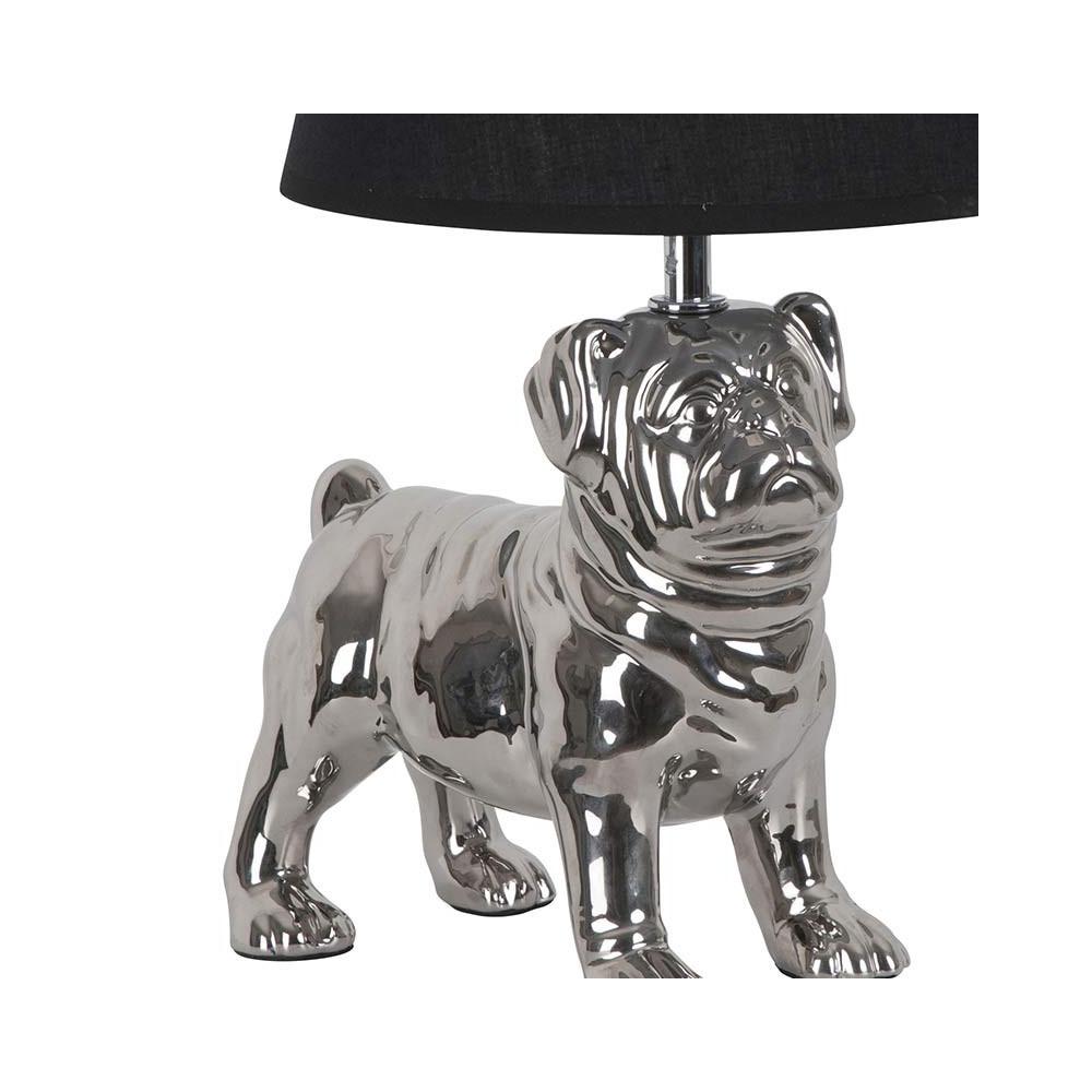 lampe chien en c ramique argent e et abat jour noir sur lampe avenue. Black Bedroom Furniture Sets. Home Design Ideas