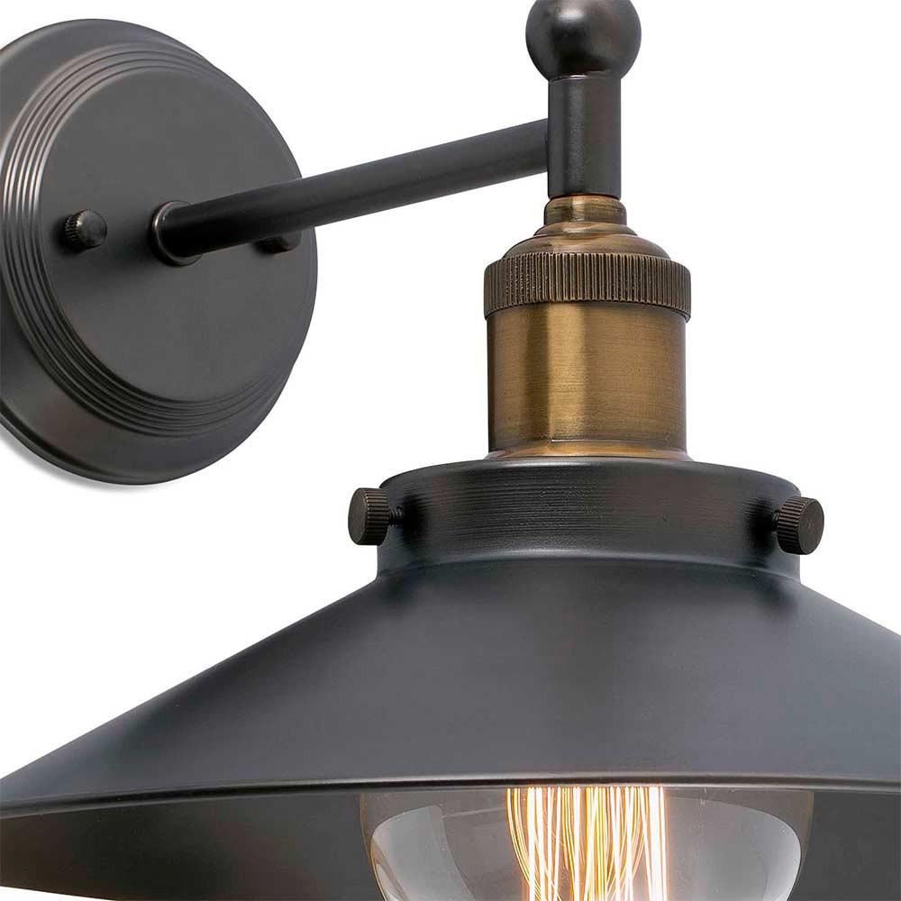 Applique r tro noire m tal vintage lampe avenue for Luminaire exterieur retro