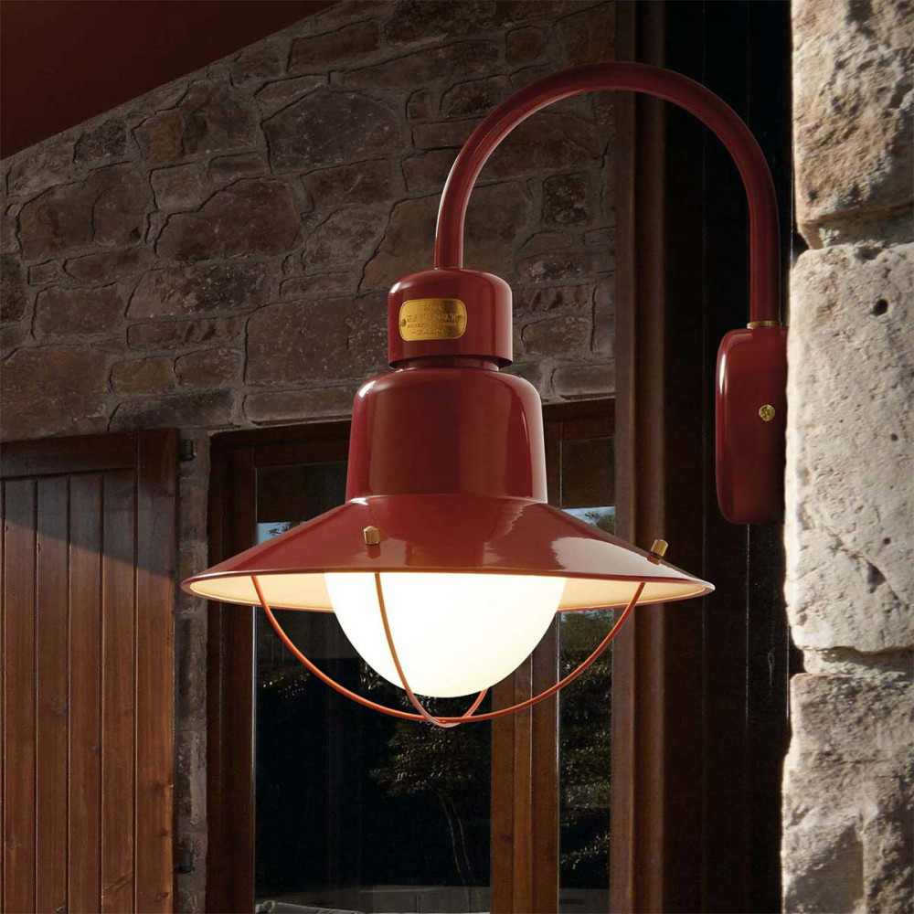 Applique ext rieure rouge bordeaux style marin lampe for Luminaire de terrasse design
