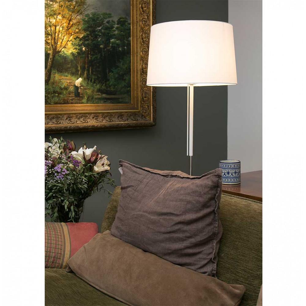 Un lampadaire abat jour blanc en textile style contemporain sur lampe avenue for Abat jour contemporain