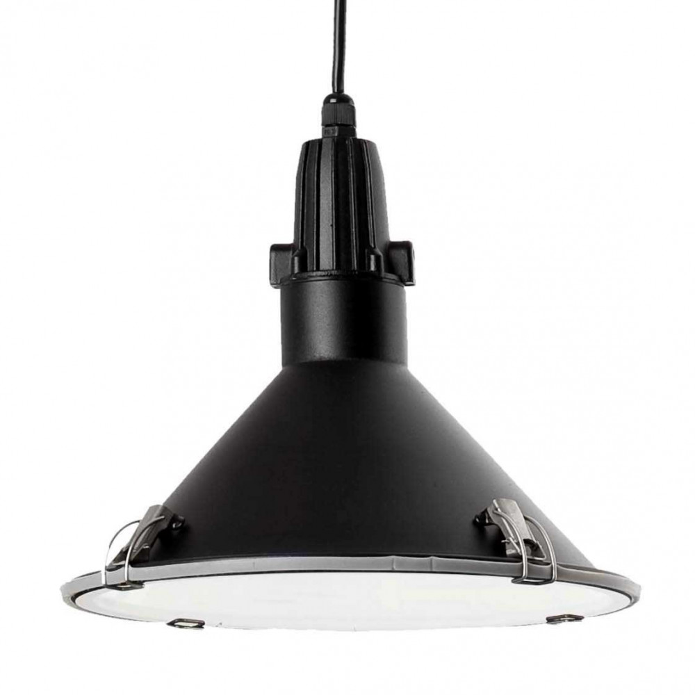 Suspension noire industrielle pour cuisine ou ext rieur en for Suspension led exterieur