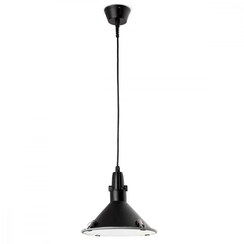 Suspension noire industrielle pour cuisine ou ext rieur en for Suspension led exterieur