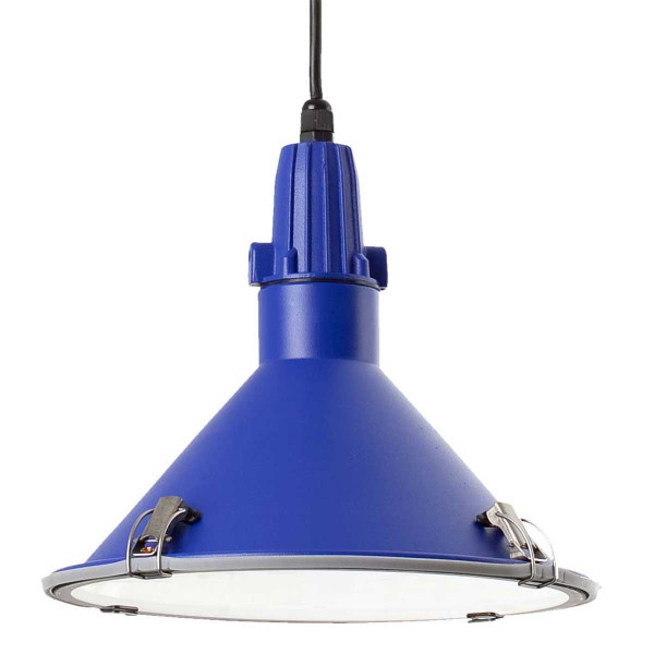 Suspension bleue pour cuisine ou l 39 ext rieur luminaire en for Suspension cuisine inox