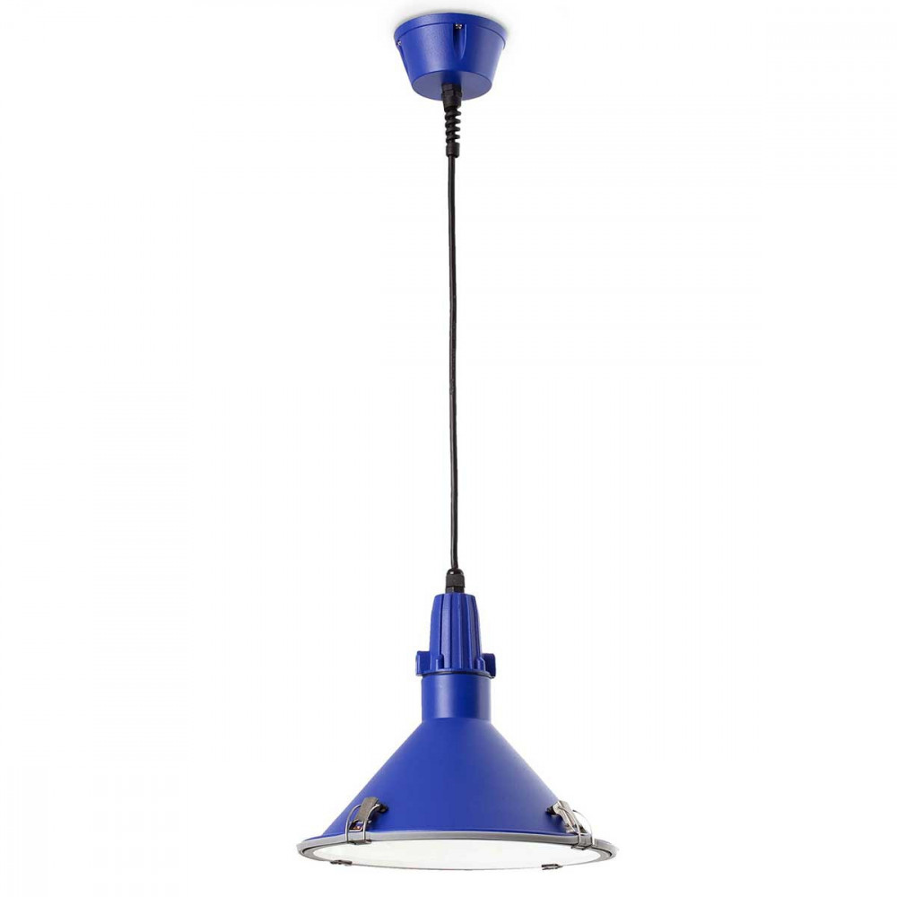 Suspension bleue pour cuisine ou l 39 ext rieur luminaire en for Suspension lampe cuisine