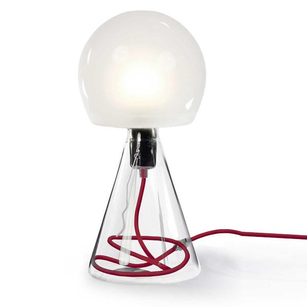 Lampe verre cordon rouge
