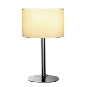 Lampe au pied chromé abat-jour blanc