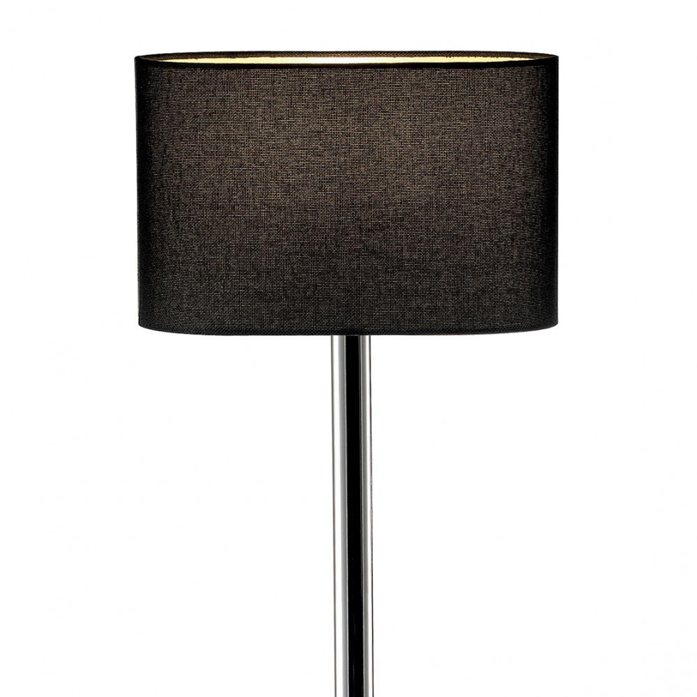 lampadaire ovale chrom abat jour noir au design simple et. Black Bedroom Furniture Sets. Home Design Ideas