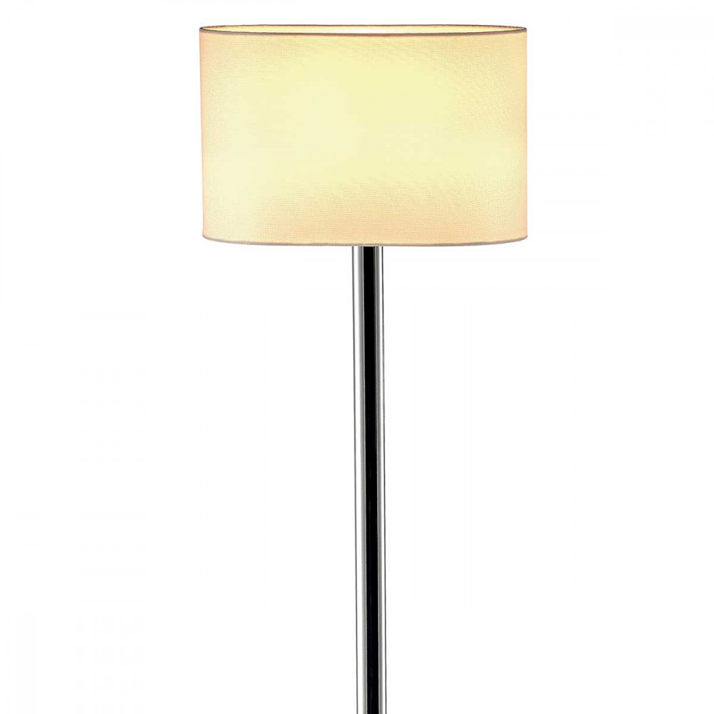 lampadaire d 39 int rieur au pied chrom avec un abat jour ovale beige. Black Bedroom Furniture Sets. Home Design Ideas