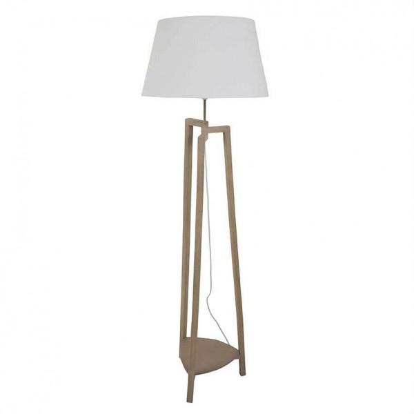 lampadaire tr pied classique en bois avec abat jour blanc pour une d co chic sur lampe avenue. Black Bedroom Furniture Sets. Home Design Ideas