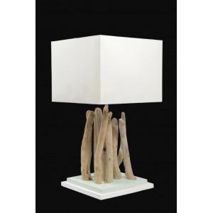Lampe en bois flotté carrée différents coloris et tailles