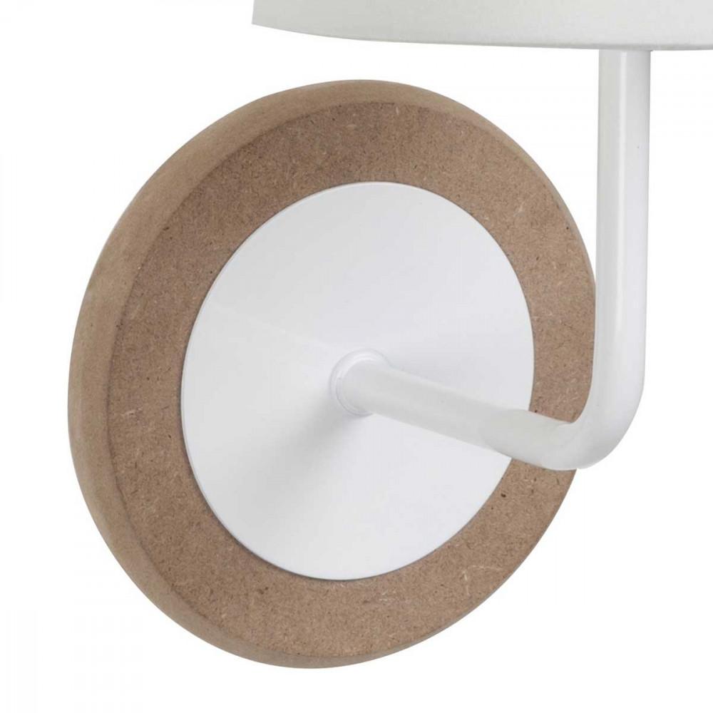 petite applique en bois et m tal avec son abat jour blanc en coton sur lampe avenue. Black Bedroom Furniture Sets. Home Design Ideas