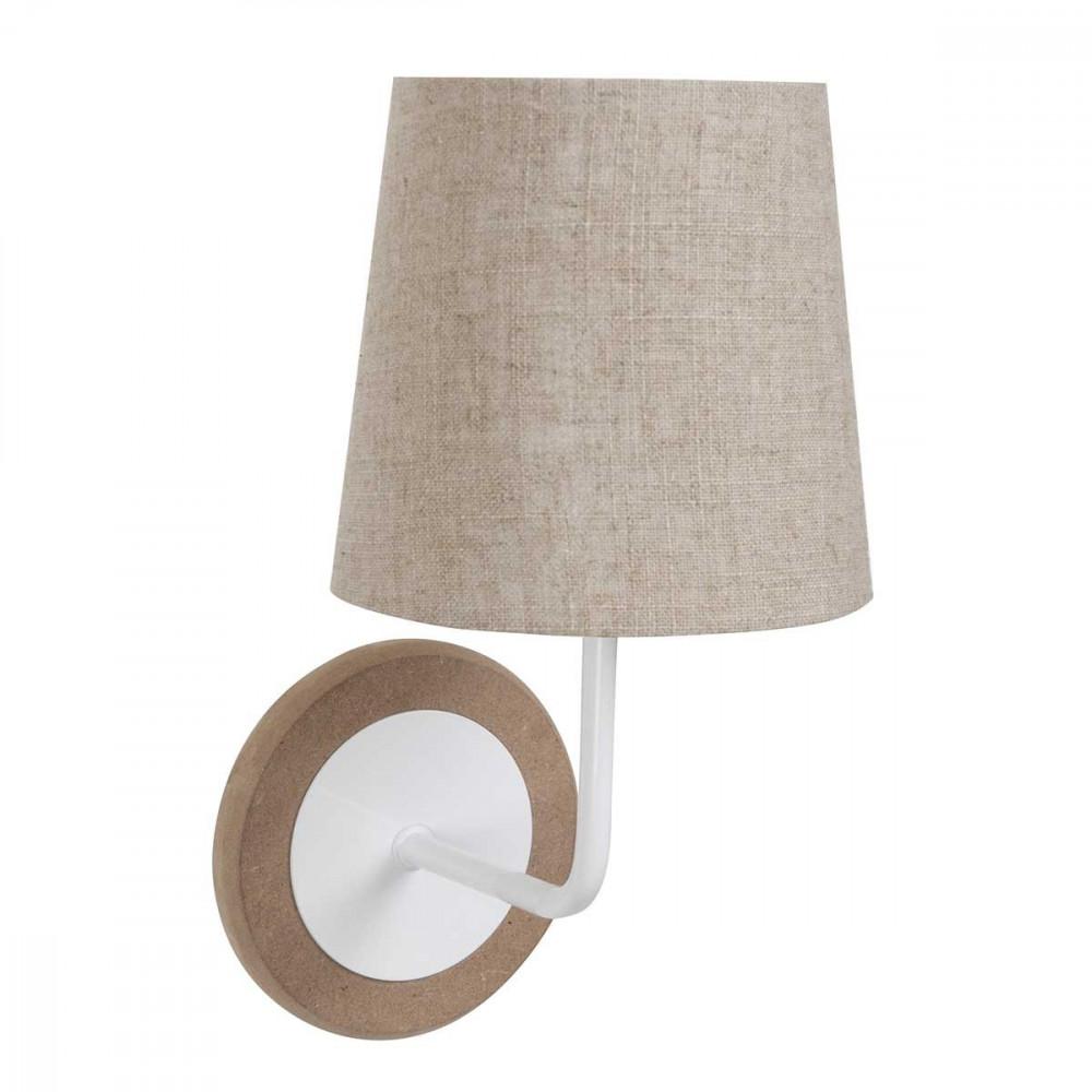 petite applique en bois et m tal avec son abat jour toile de jute sur lampe avenue. Black Bedroom Furniture Sets. Home Design Ideas