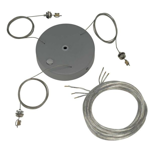 Kit de suspension pour grand plafonnier gris argent