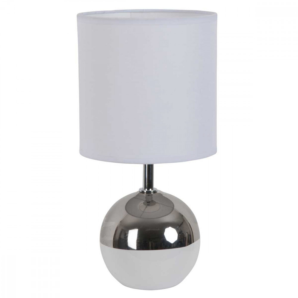 petite lampe boule blanche et chrome style d co a retrouver sur lampe avenue. Black Bedroom Furniture Sets. Home Design Ideas