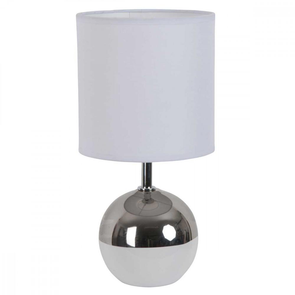 Petite lampe boule blanche et chrome style d co a for Lampe exterieur blanche