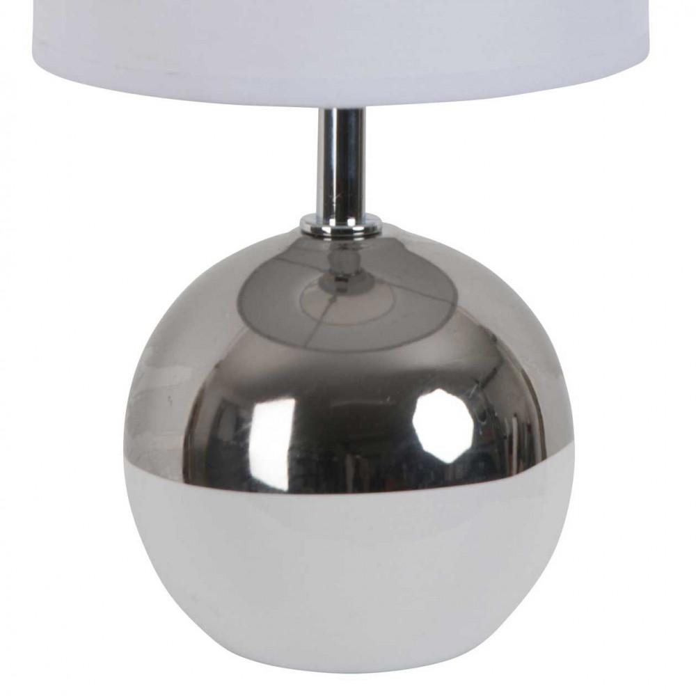 petite lampe boule blanche et chrome style d co a retrouver sur lampe avenue. Black Bedroom Furniture Sets. Home Design Ideas