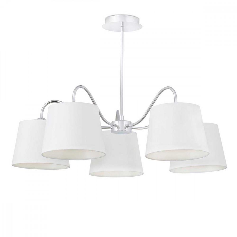 lustre 5 abat jour blancs pliss s luminaire id al pour une salle manger. Black Bedroom Furniture Sets. Home Design Ideas