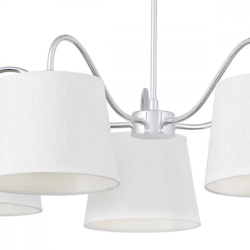 lustre 5 abat jour blancs pliss s luminaire id al pour. Black Bedroom Furniture Sets. Home Design Ideas