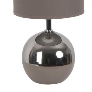 Lampe boule bicolore taupe et chrome
