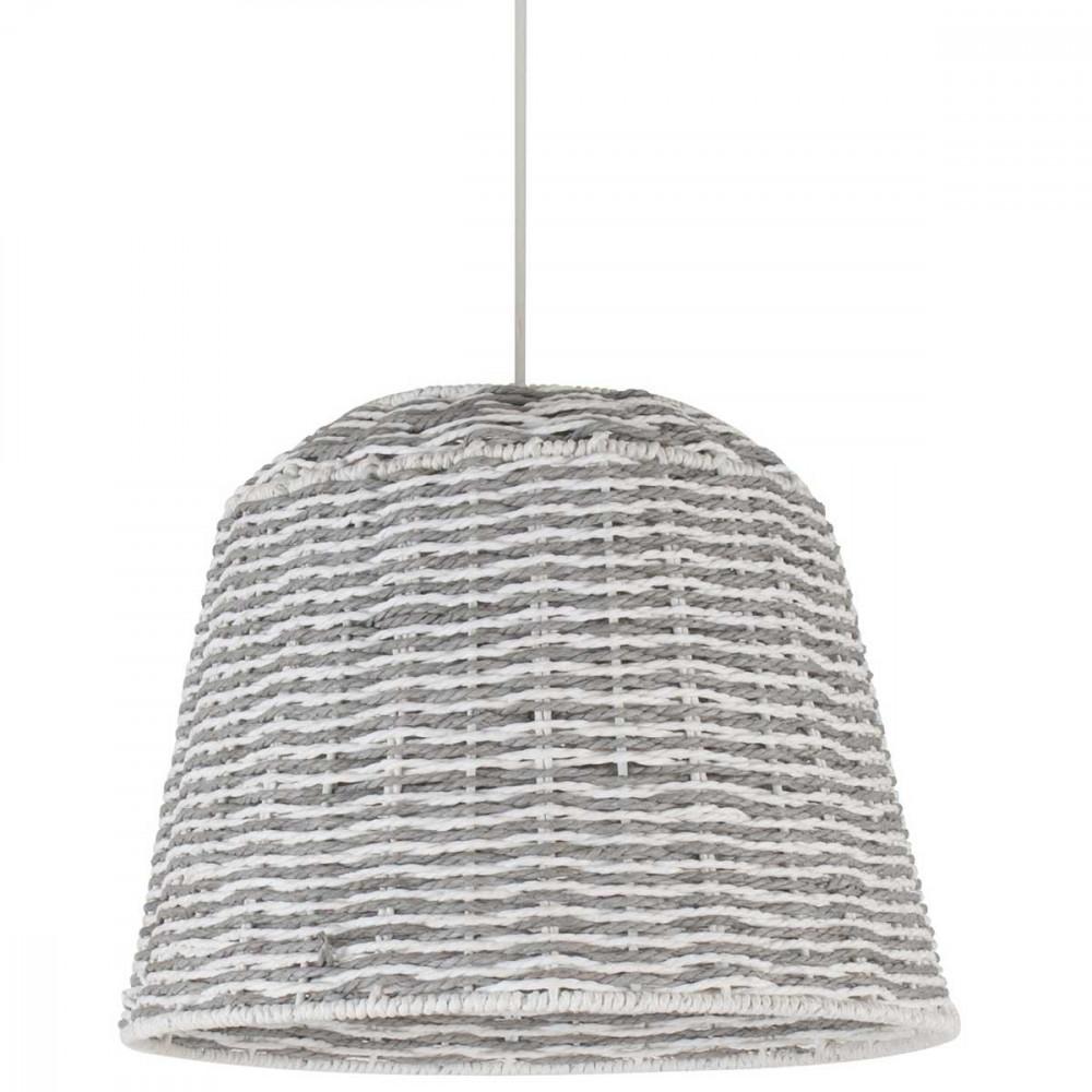 suspension rotin conique bicolore grise et blanche style