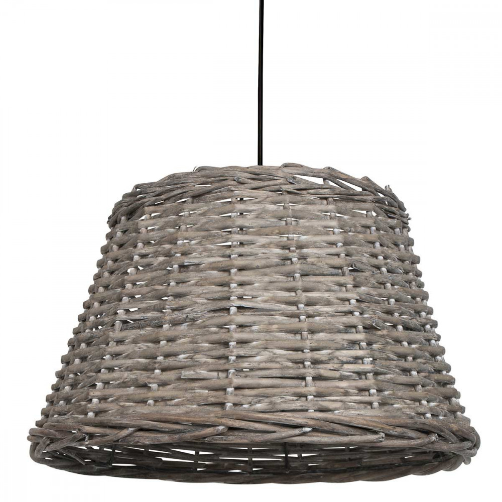Suspension en rotin tress de couleur naturel pour un for Luminaire suspension osier