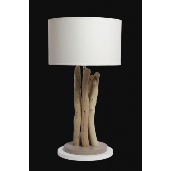 Lampe en bois flotté ronde différents coloris