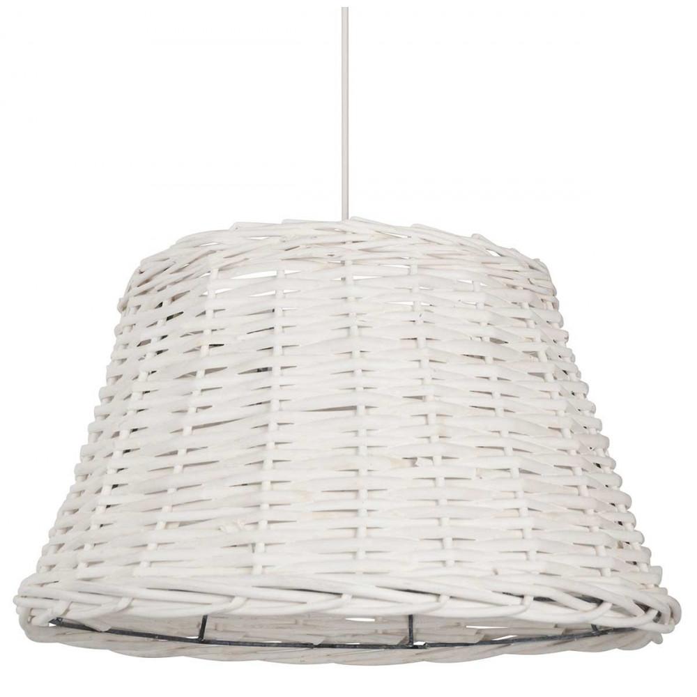 suspension cuisine en rotin blanc de forme conique style. Black Bedroom Furniture Sets. Home Design Ideas