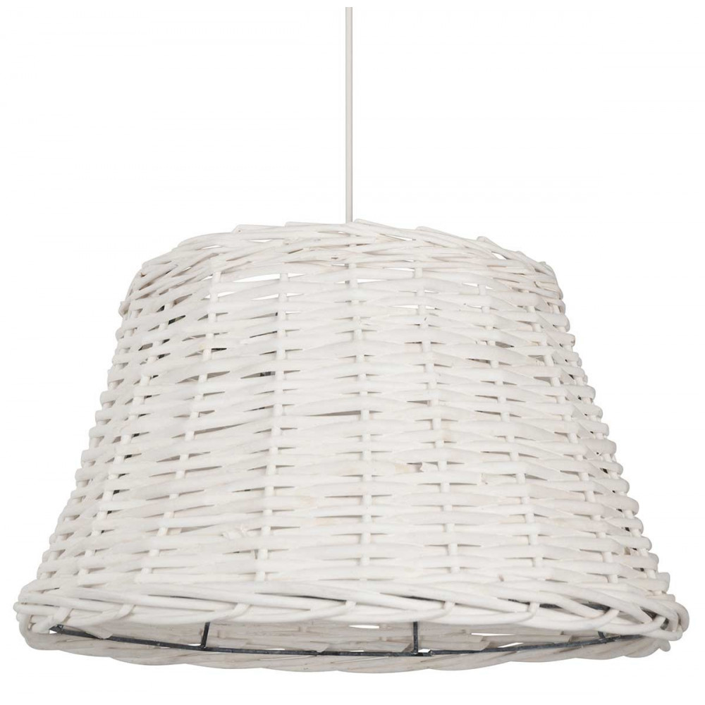 Suspension cuisine en rotin blanc de forme conique style classique sur lam - Suspension rotin blanc ...