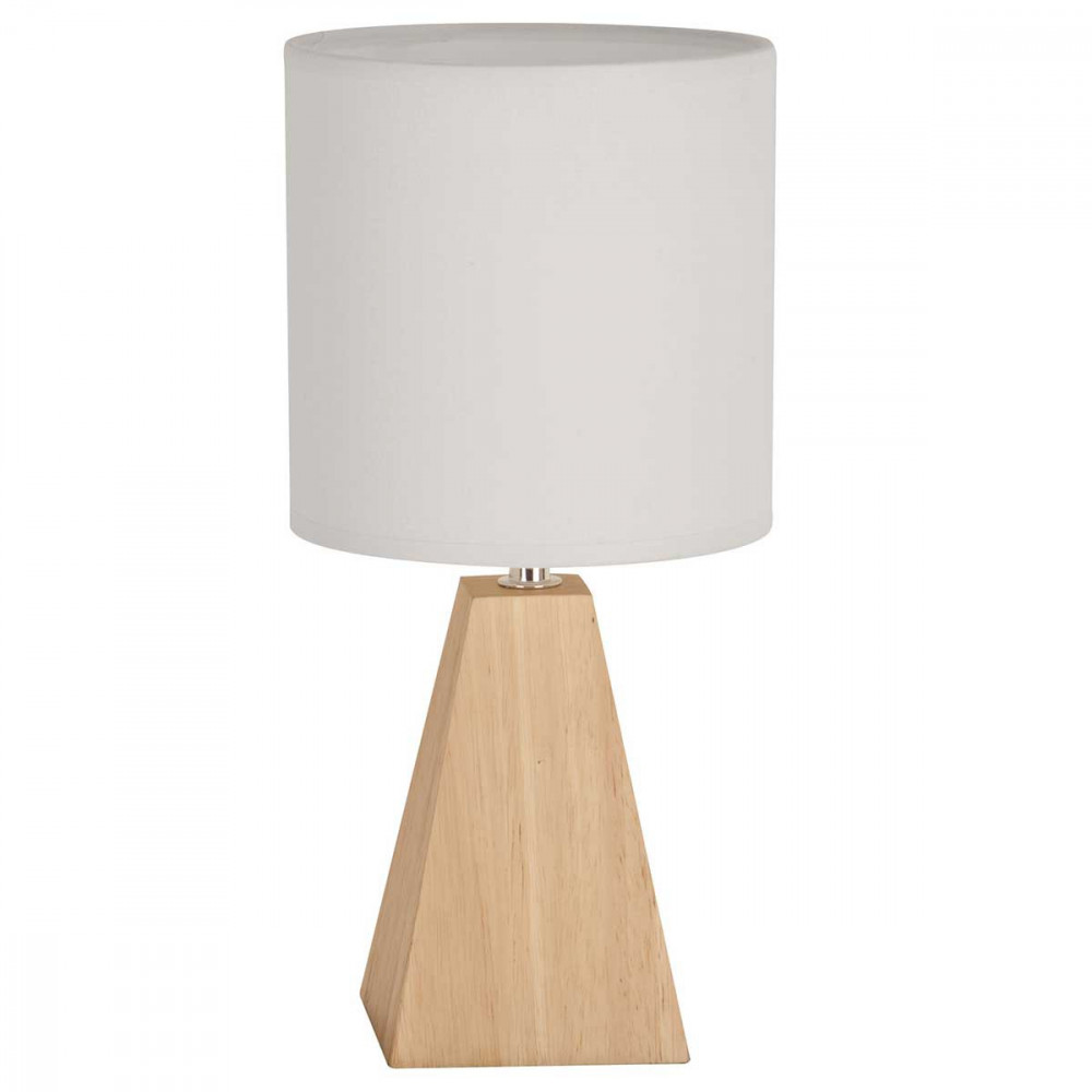 petite lampe forme pyramide en bois avec abat jour blanc. Black Bedroom Furniture Sets. Home Design Ideas