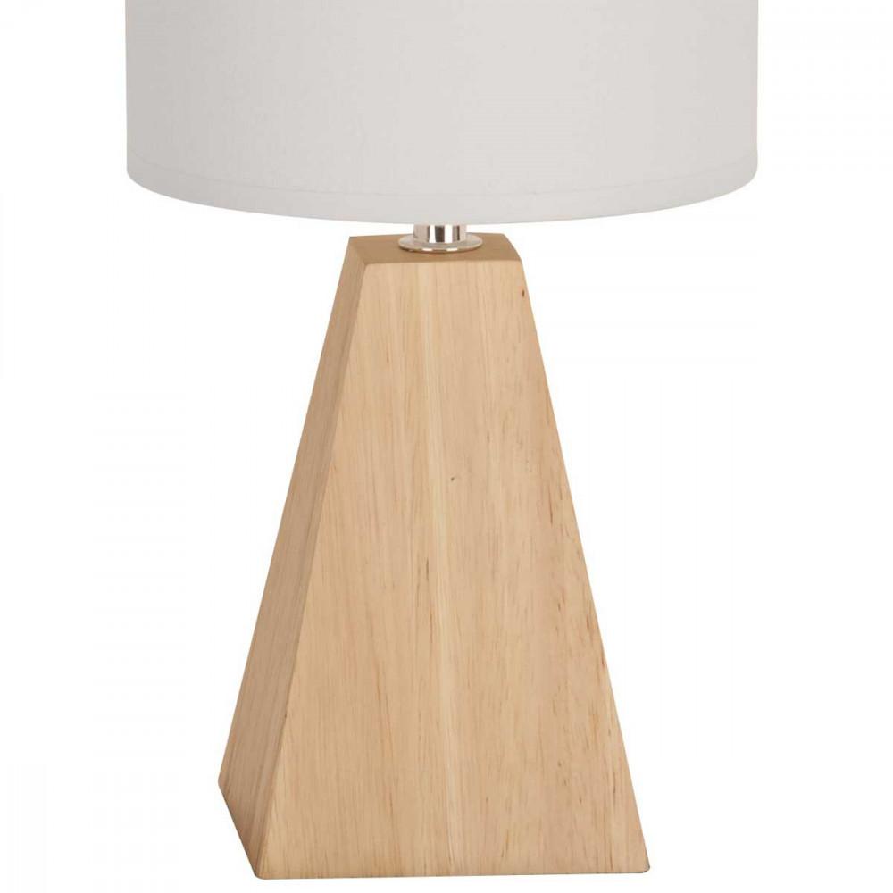 Petite lampe forme pyramide en bois avec abat jour blanc for Petite lampe de chevet