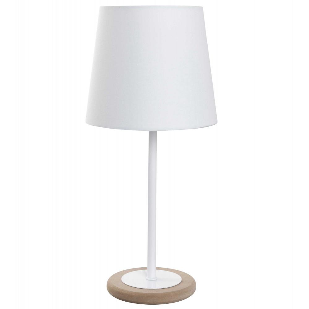 Petite lampe ronde blanche et m tal avec abat jour assorti for Interrupteur lampe de chevet