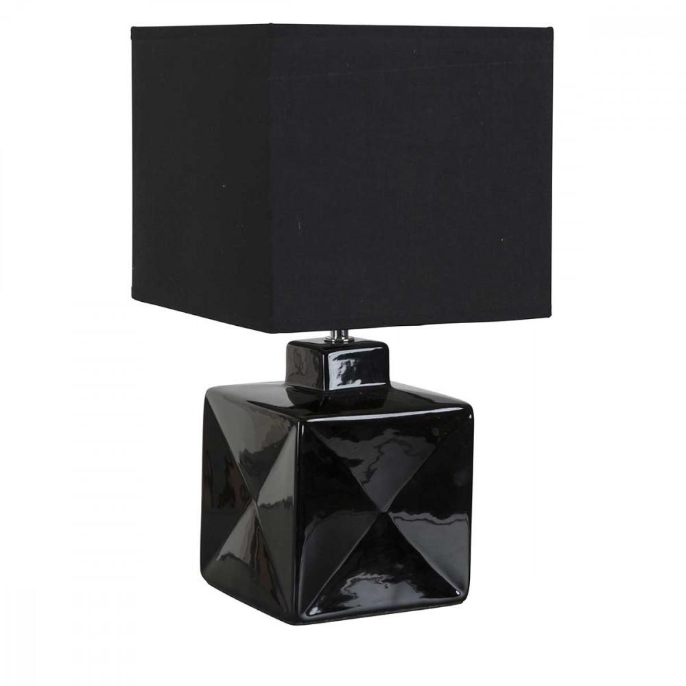 Petite lampe carr e noire en c ramique brillante avec abat for Petite lampe exterieur