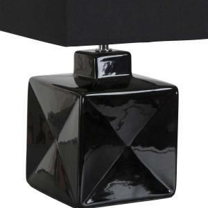 Petite lampe noire carrée en céramique brillante