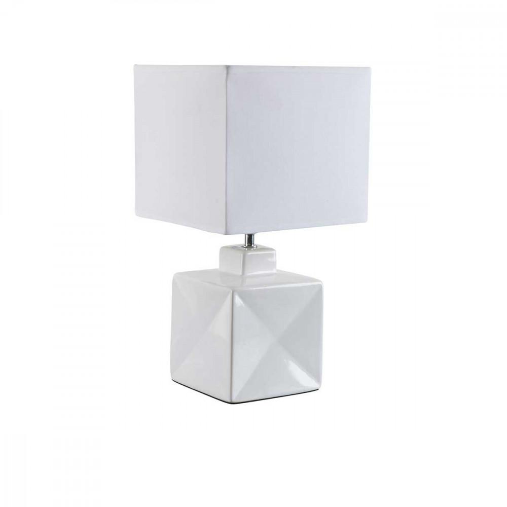 Petite lampe carr e blanche en c ramique brillante pour for Petite lampe exterieur