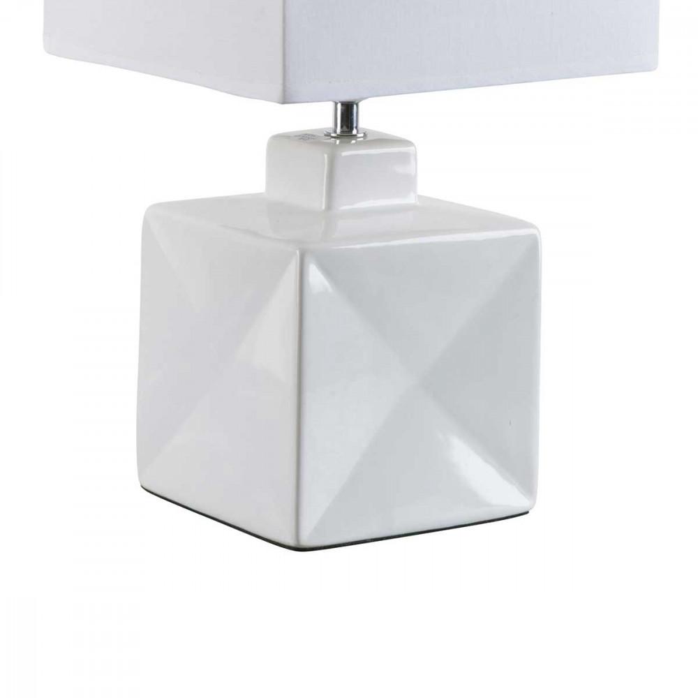 Petite lampe carr e blanche en c ramique brillante pour for Lampe exterieur blanche