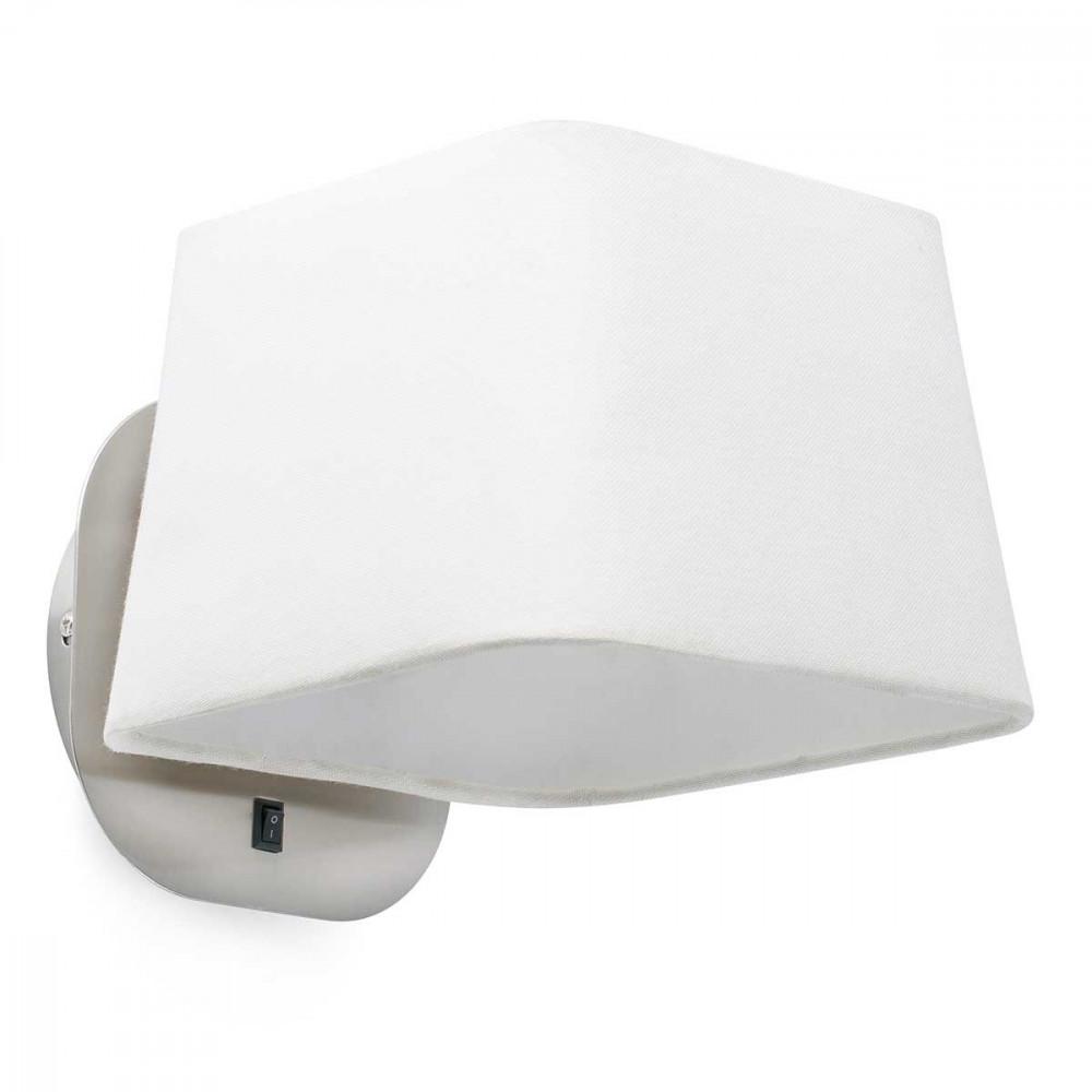 Applique chevet blanche et nickel mat avec interrupteur for Applique lampe de chevet