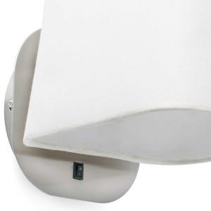 applique chevet blanche et nickel mat avec interrupteur. Black Bedroom Furniture Sets. Home Design Ideas