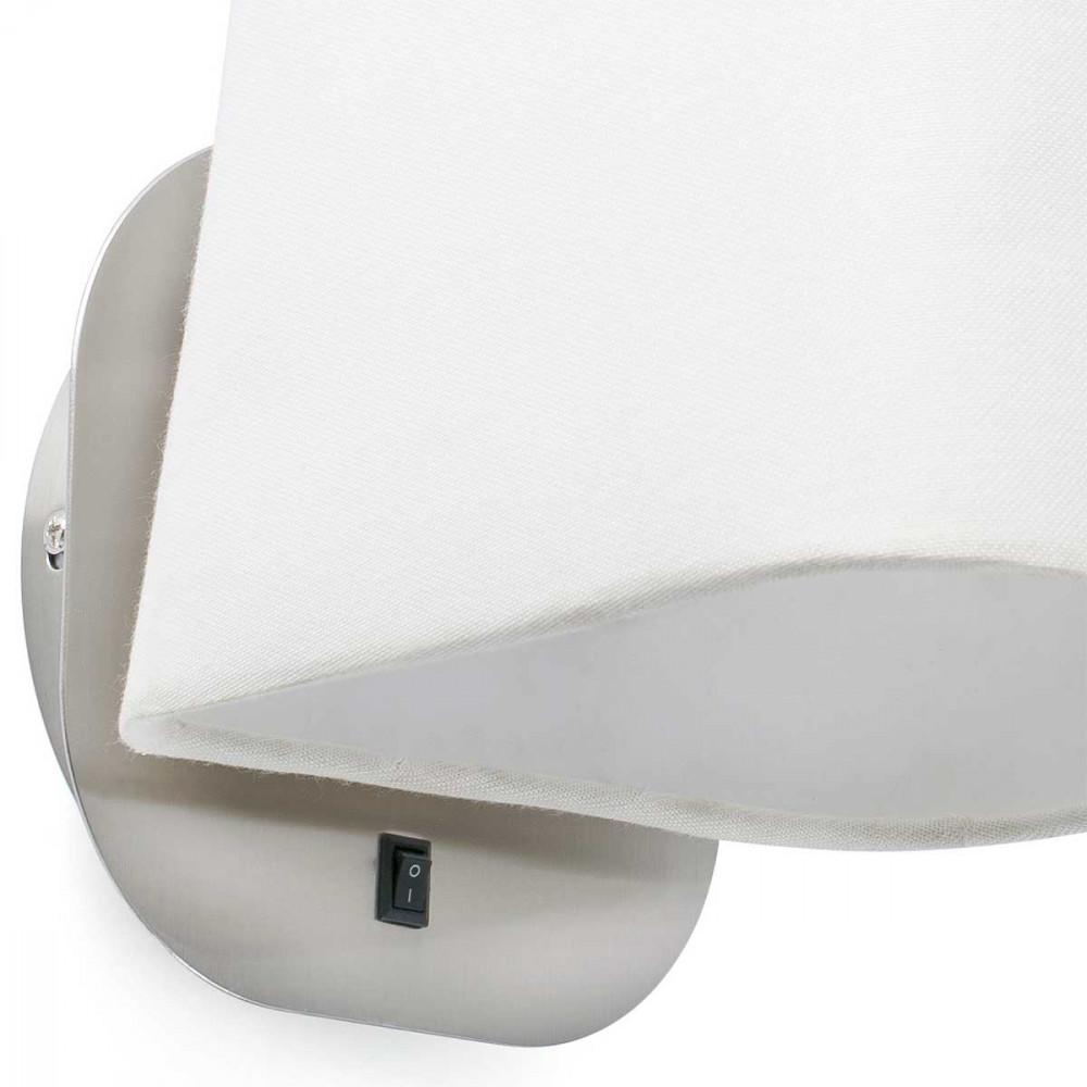 applique chevet blanche et nickel mat avec interrupteur lampe avenue. Black Bedroom Furniture Sets. Home Design Ideas