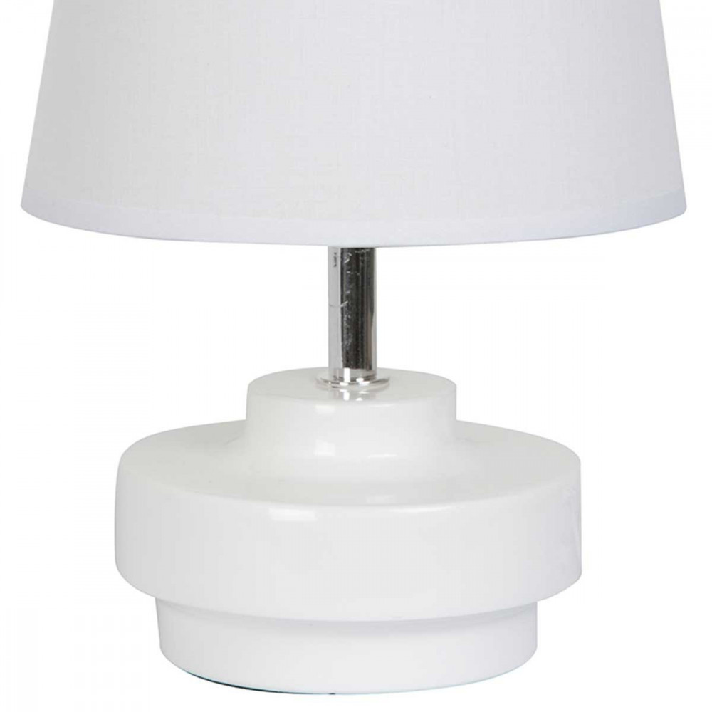 Petite lampe blanche en c ramique brillante forme toupie for Lampe de chevet blanche