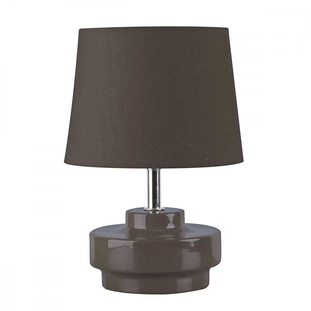 Petite lampe taupe en c ramique brillante avec abat jour for Petite lampe de chevet