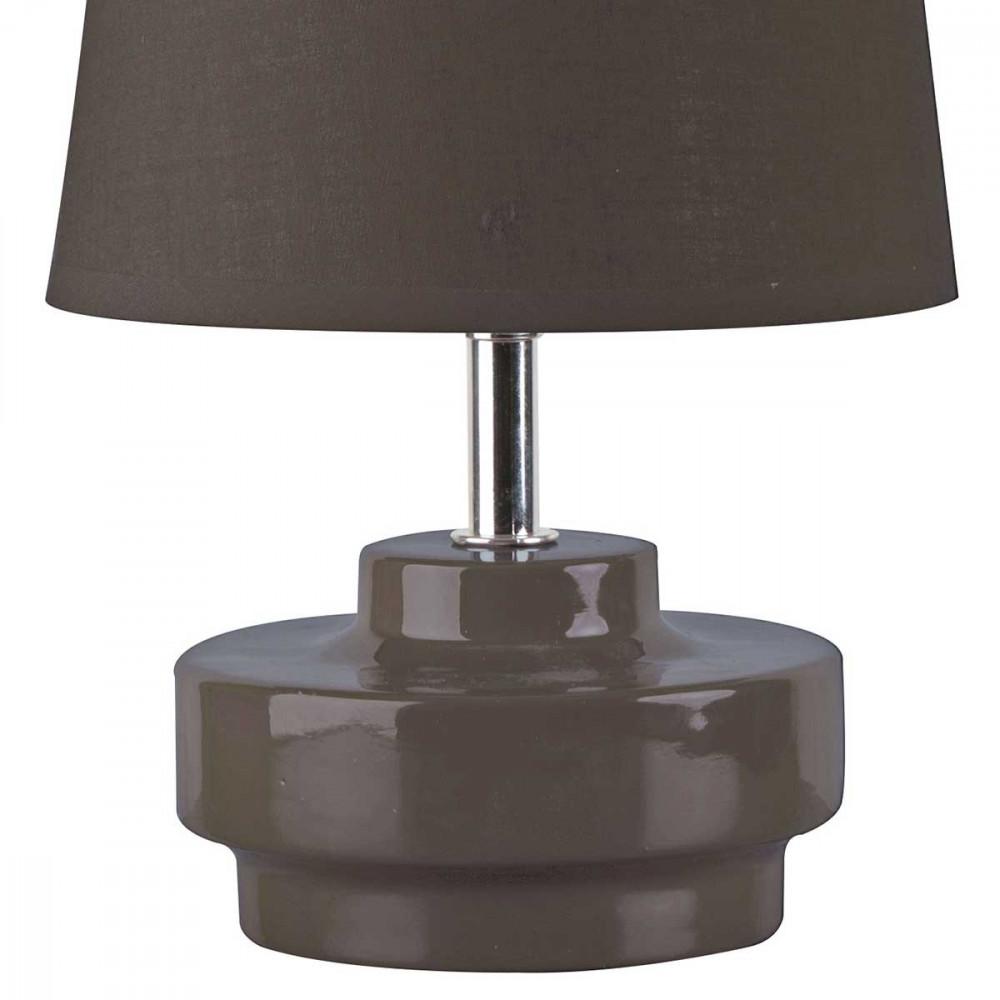 petite lampe taupe en c ramique brillante avec abat jour. Black Bedroom Furniture Sets. Home Design Ideas