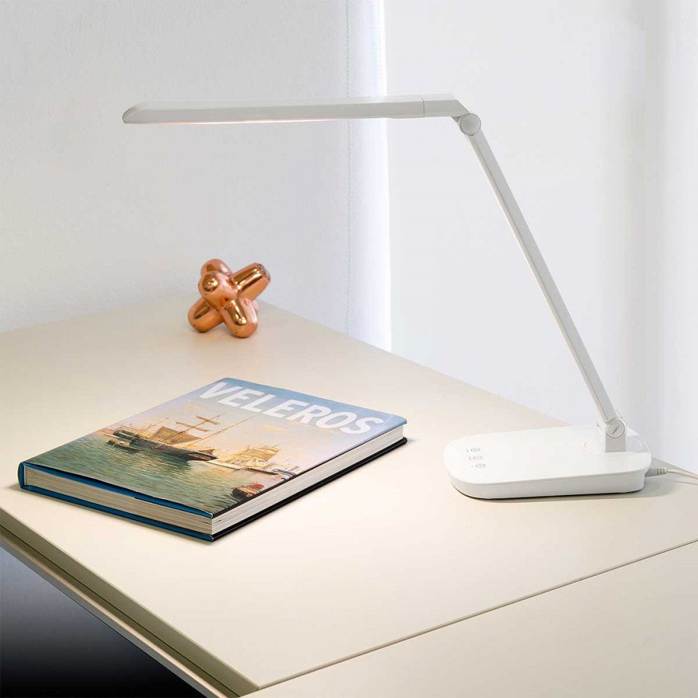 lampe de bureau blanche tactile avec variateur de lumi re. Black Bedroom Furniture Sets. Home Design Ideas