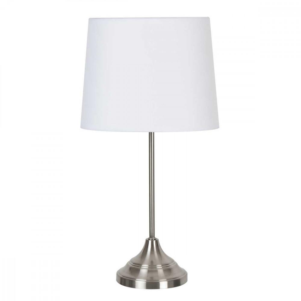 lampe poser en m tal abat jour en coton blanc pour un style contemporain lampe avenue. Black Bedroom Furniture Sets. Home Design Ideas